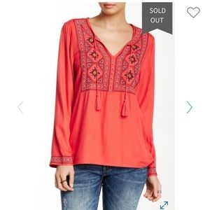 Lucky Brand Embroidered Bib Tunic Large